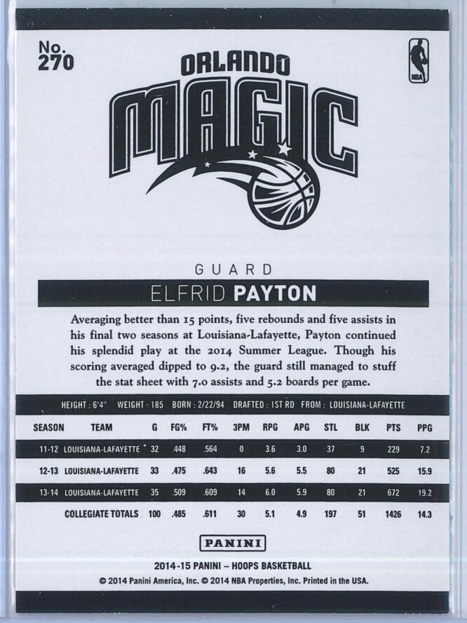 Elfrid Payton Panini NBA Hoops Basketball 2014 15 Base Green RC 2
