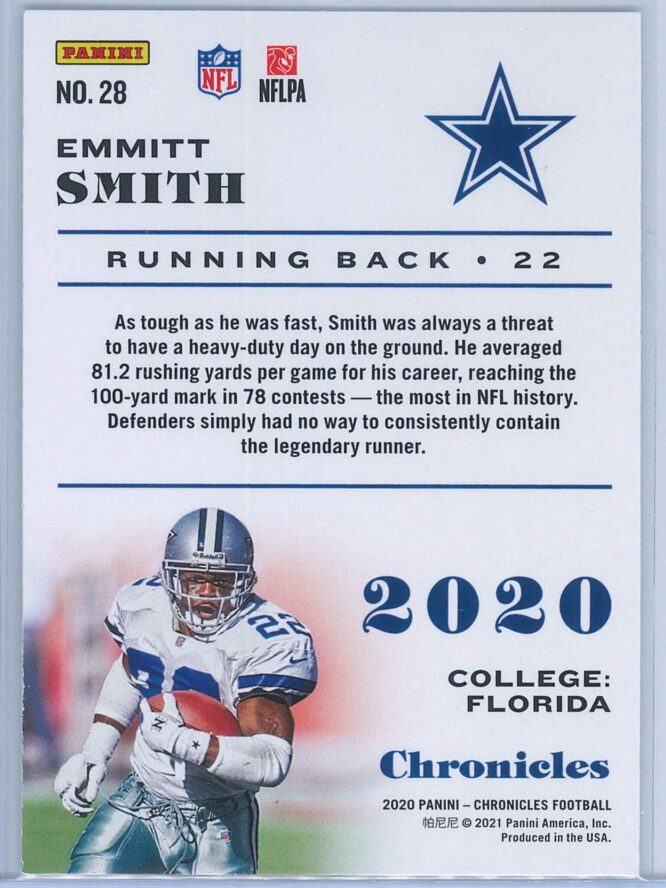 Emmitt Smith Panini Chronicles Football 2020 Base 2
