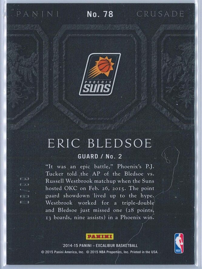 Eric Bledsoe Panini Excalibur Basketball 2014 15 Crusade Camouflage Red 0899 2