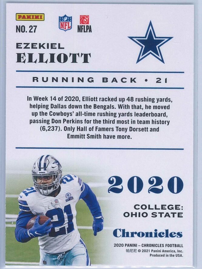 Ezekiel Elliott Panini Chronicles Football 2020 Base 2