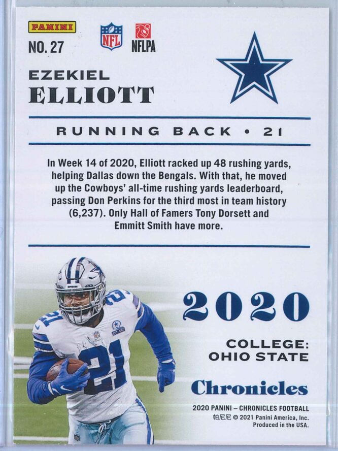 Ezekiel Elliott Panini Chronicles Football 2020 Base Pink 2