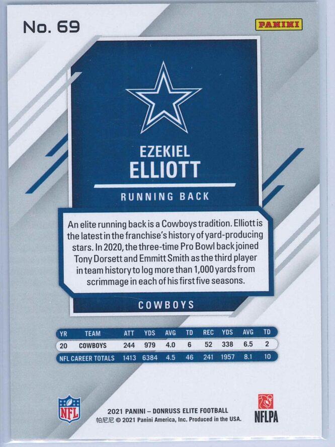 Ezekiel Elliott Panini Donruss Elite Football 2021 Base 2