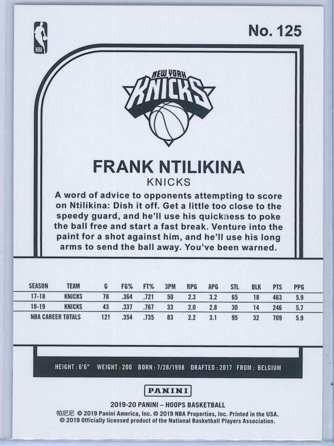 Frank Ntilikina Panini NBA Hoops 2019 20 Purple 2