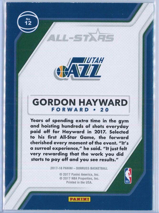 Gordon Hayward Panini Donruss Basketball 2017 18 All Stars 2
