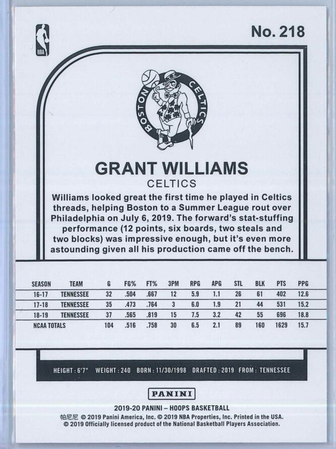 Grant Williams Panini NBA Hoops Basketball 2019 20 Base Blue RC 2