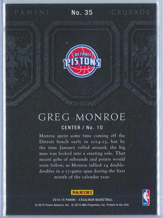 Greg Monroe Panini Excalibur Basketball 2014 15 Crusade Camouflage 2