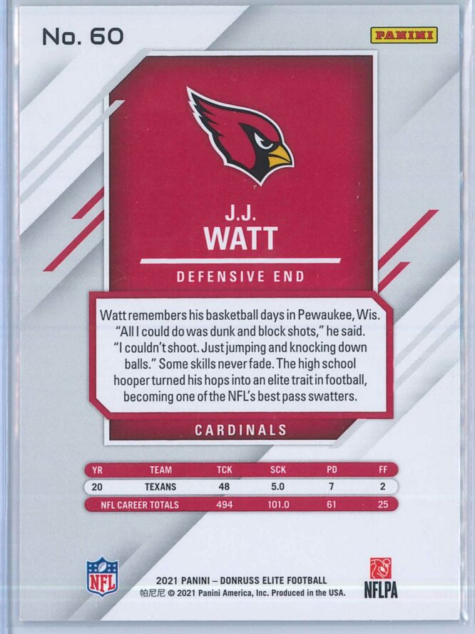 J.J. Watt Panini Donruss Elite Football 2021 Base 2