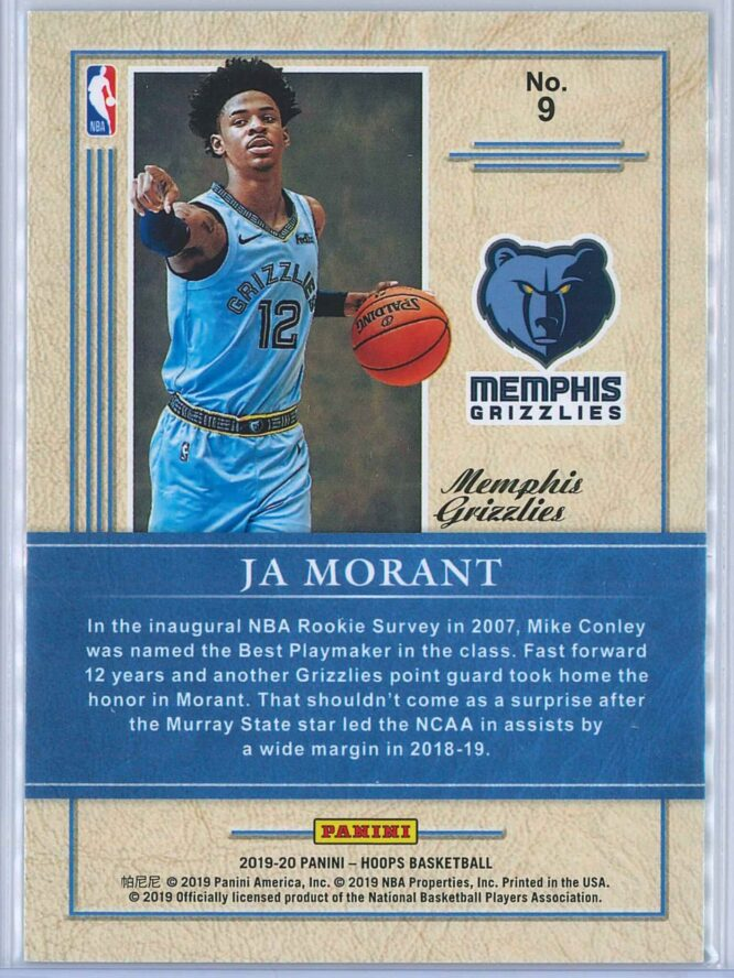 Ja Morant Panini NBA Hoops 2019 20 Class of 2019 Holo 2