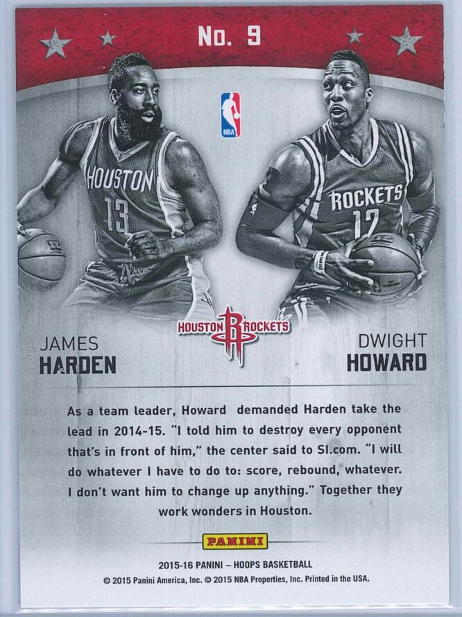 James Harden Dwight Howard Panini NBA Hoops Basketball 2015 16 Double Trouble 2