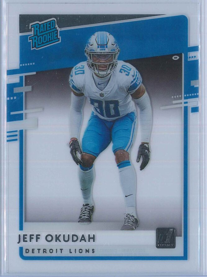 Jeff Okudah Panini Chronicles Football 2020 Clearly Donruss  Rated Rookie