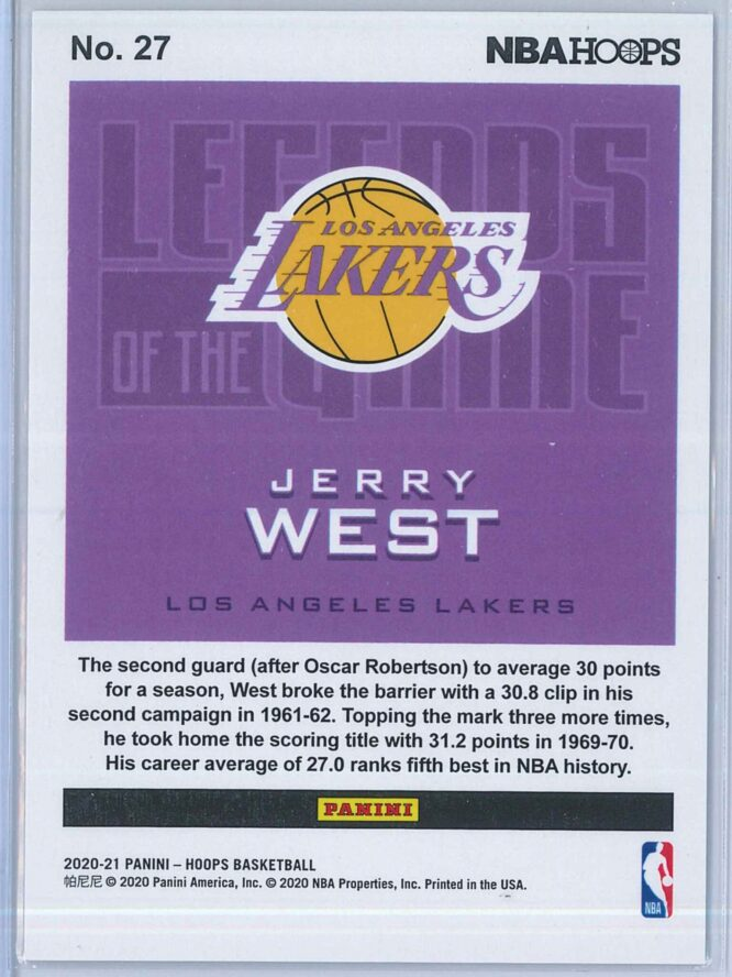 Jerry West Panini NBA Hoops 2020 21 Legends Of The Game 168699 2