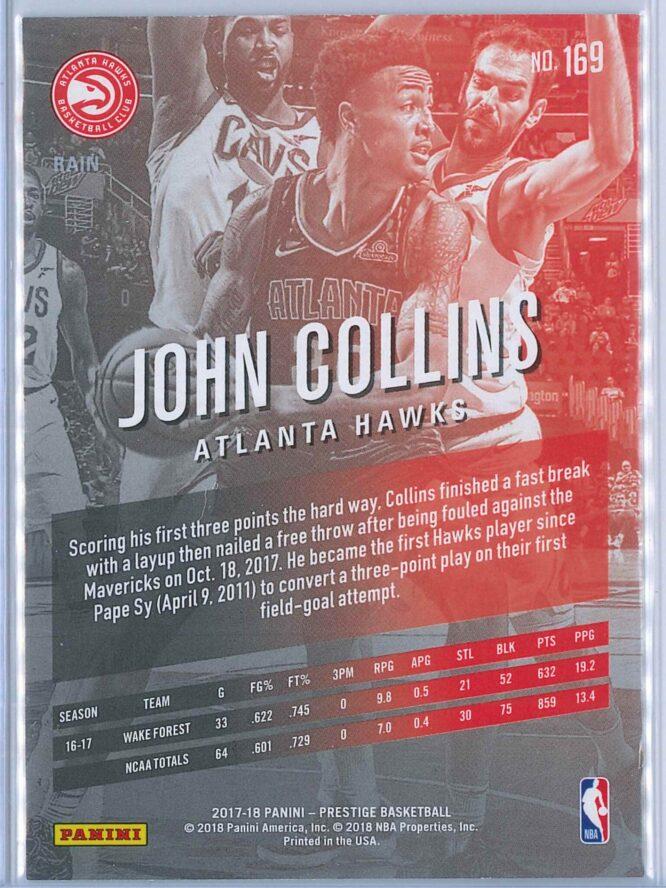 John Collins Panini Prestige Basketball 2017 18 Base Rain Parallel RC 2