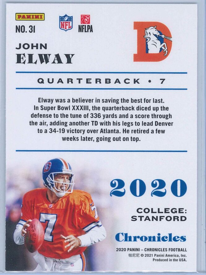 John Elway Panini Chronicles Football 2020 Base 2