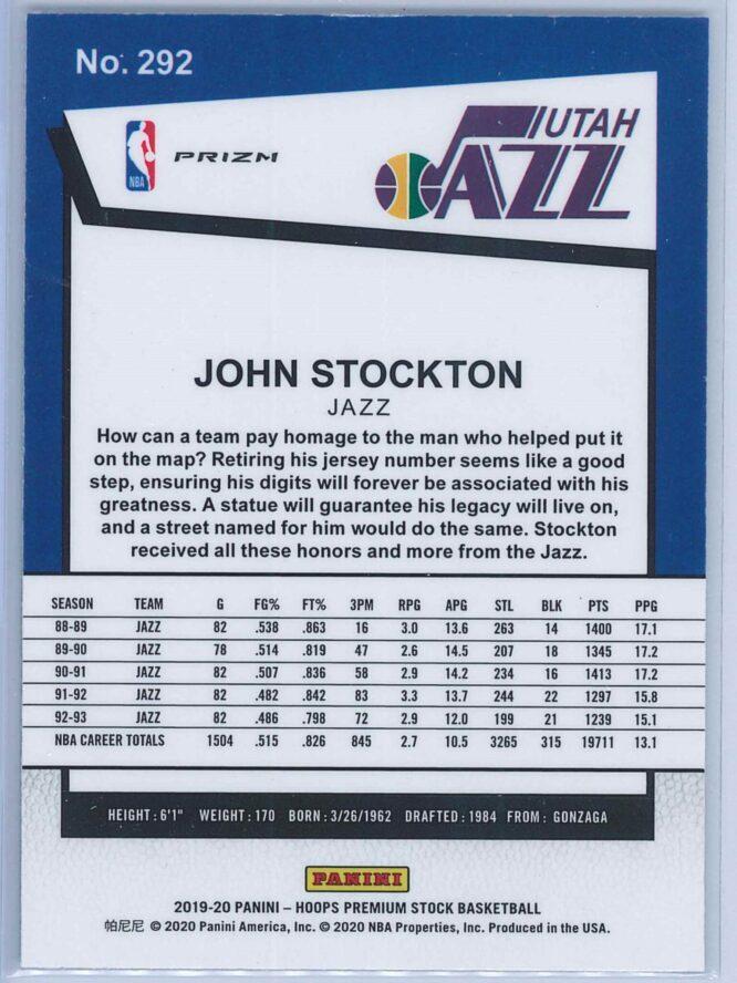 John Stockton Panini NBA Hoops Premium Stock 2019 20 Tribute Green Prizm 2