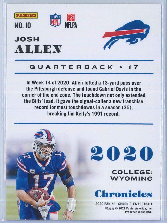 Josh Allen Panini Chronicles Football 2020 Base Pink 2