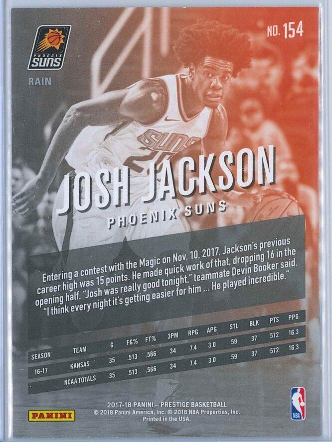Josh Jackson Panini Prestige Basketball 2017 18 Base Rain Parallel RC 2