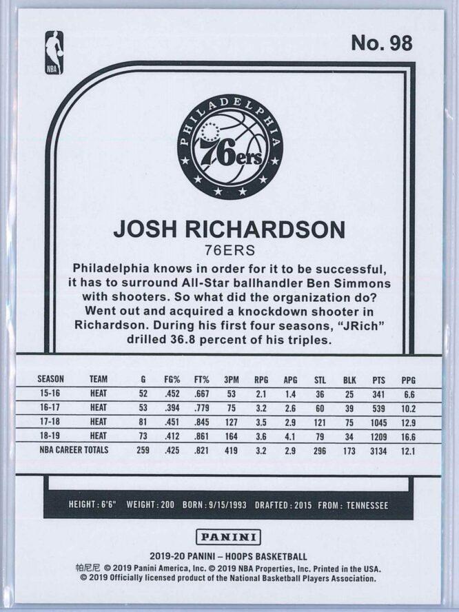 Josh Richardson Panini NBA Hoops 2019 20 Blue 2