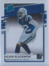 Julian Blackmon Panini Chronicles Football 2020 Clearly Donruss  Rated Rookie