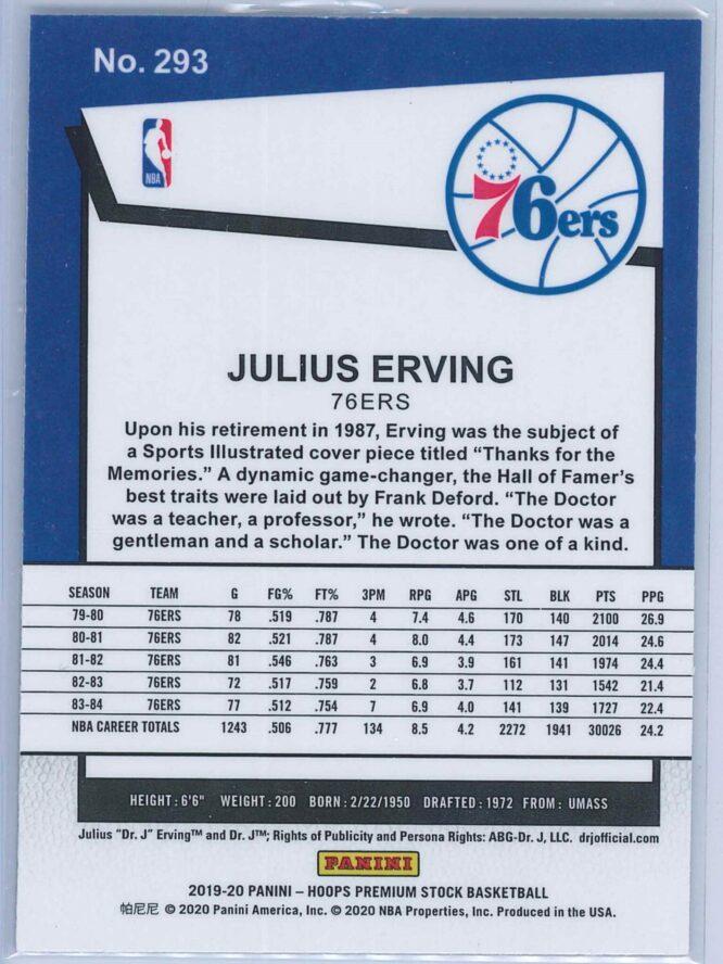 Julius Erving Panini NBA Hoops Premium Stock 2019 20 Tribute 2