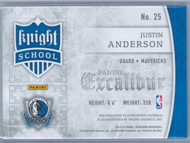 Justin Anderson Panini Excalibur 2015 16 Knight School Jerseys RC 2
