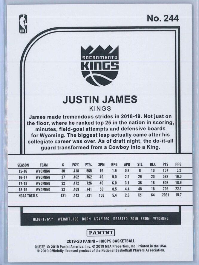 Justin James Panini NBA Hoops Basketball 2019 20 Base Purple RC 2