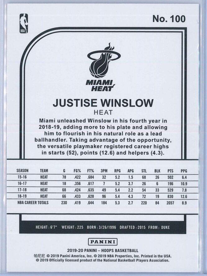 Justise Winslow Panini NBA Hoops 2019 20 Purple 2