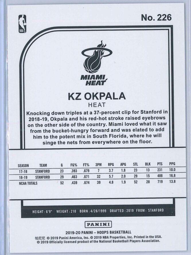 KZ Okpala Panini NBA Hoops Basketball 2019 20 Base Purple RC 2