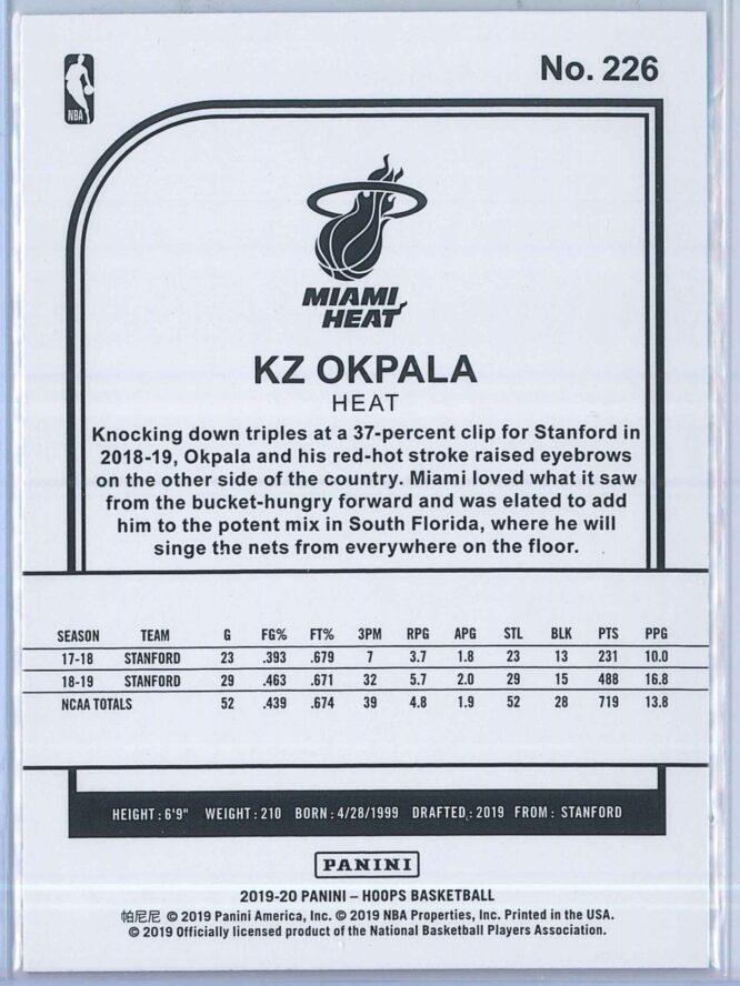 KZ Okpala Panini NBA Hoops Basketball 2019 20 Base Teal Explosion RC 2