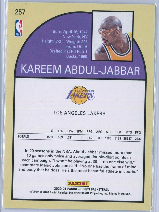 Kareem Abdul Jabbar Panini NBA Hoops 2020 21 Tribute 2