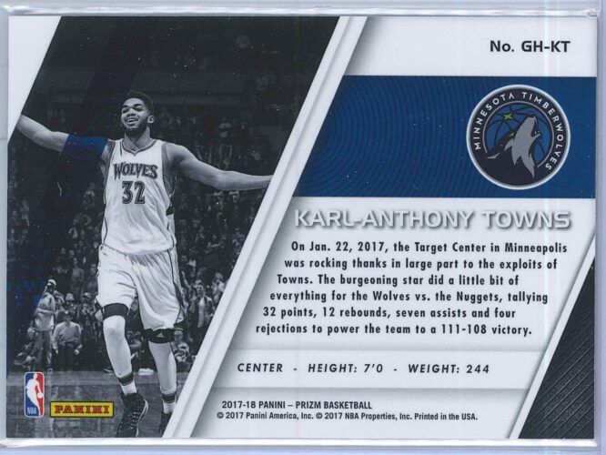 Karl Anthony Towns Panini Prizm 2017 18 Get Hyped 2