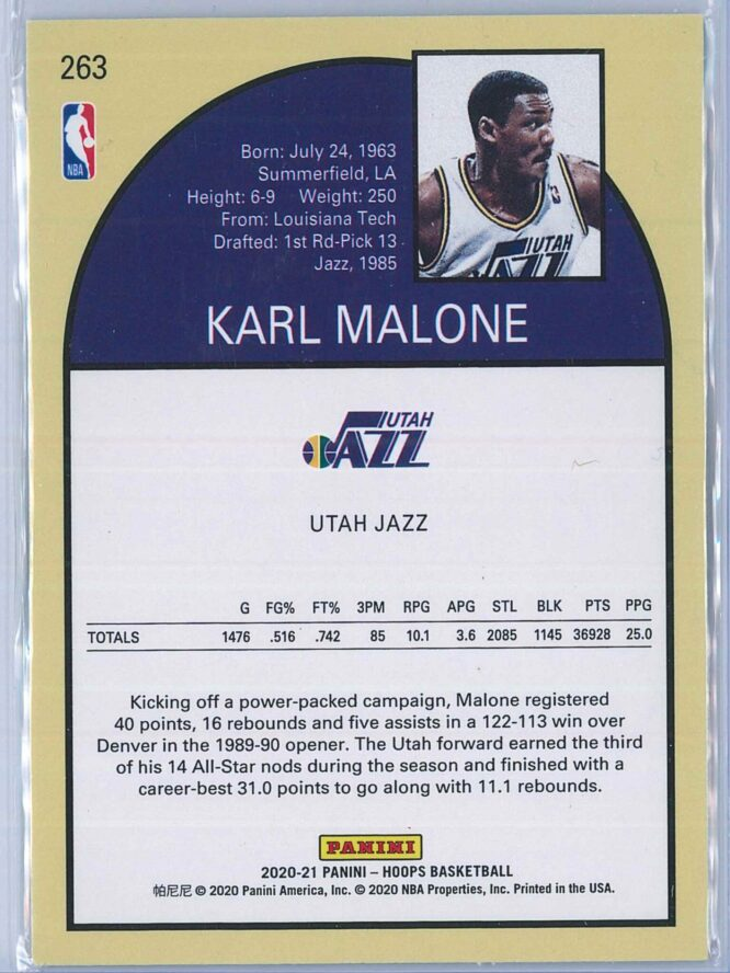 Karl Malone Panini NBA Hoops 2020 21 Tribute 2