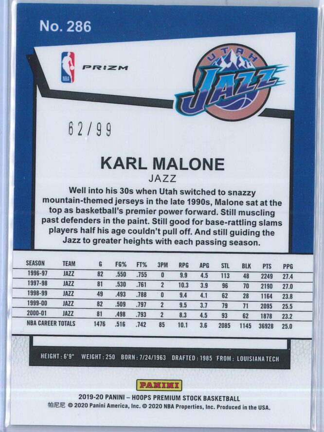 Karl Malone Panini NBA Hoops Premium Stock 2019 20 Tribute Blue Laser Prizm 2