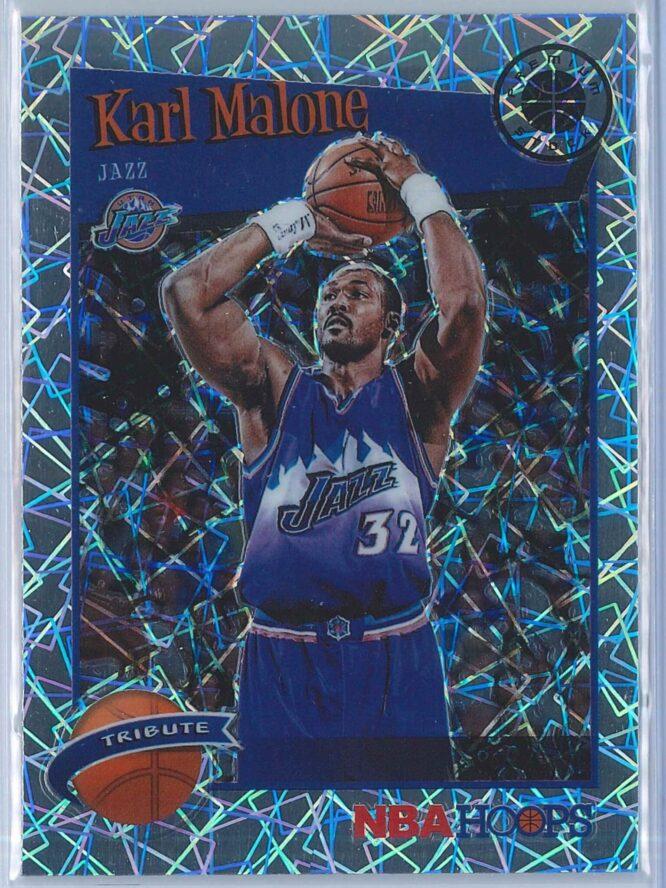 Karl Malone Panini NBA Hoops Premium Stock 2019-20 Tribute Silver Laser Prizm