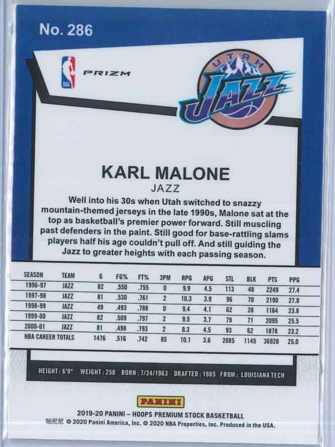 Karl Malone Panini NBA Hoops Premium Stock 2019 20 Tribute Silver Laser Prizm 2