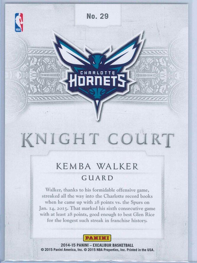 Kemba Walker Panini Excalibur Basketball 2014 15 Knight Court Orange 0799 2