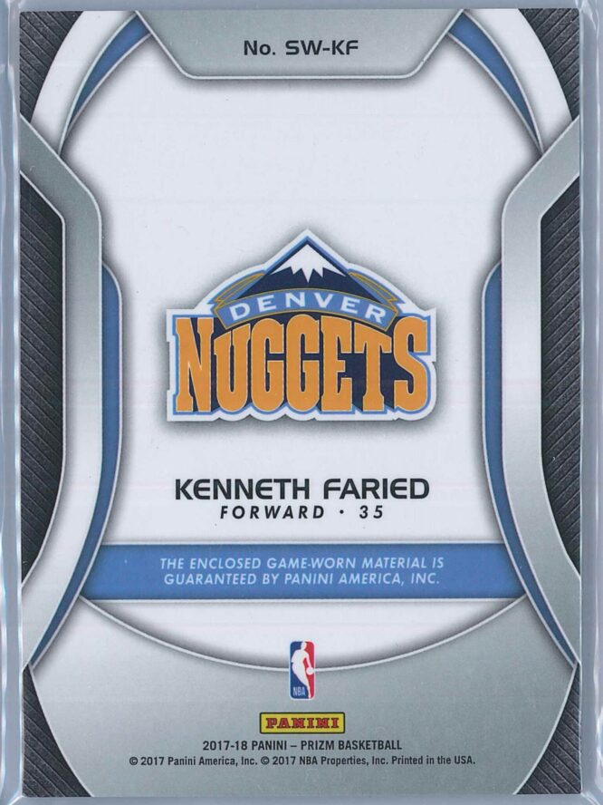 Kenneth Faried Panini Prizm 2017 18 Sensational Swatches 2