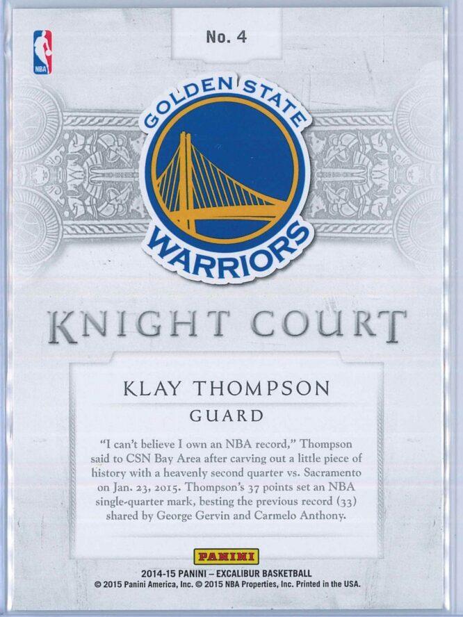Klay Thompson Panini Excalibur Basketball 2014 15 Knight Court Orange 0499 2