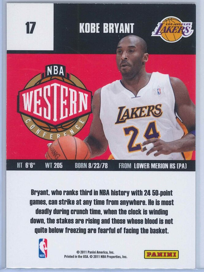 Kobe Bryant Panini Absolute Memorabilia 2010 11 Panini All Stars 2