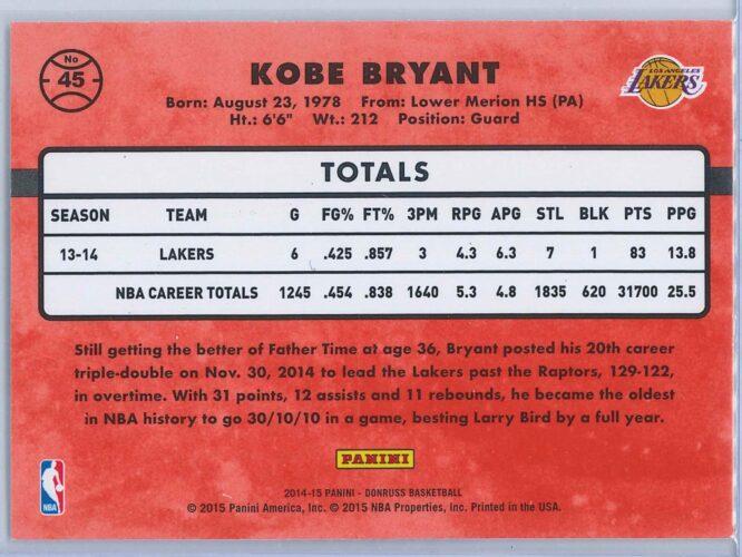Kobe Bryant Panini Donruss Basketball 2014 15 Base 2