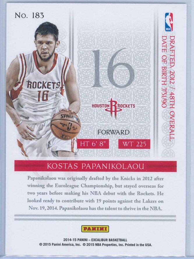 Kostas Papanikolaou Panini Excalibur Basketball 2014 15 Base RC 2