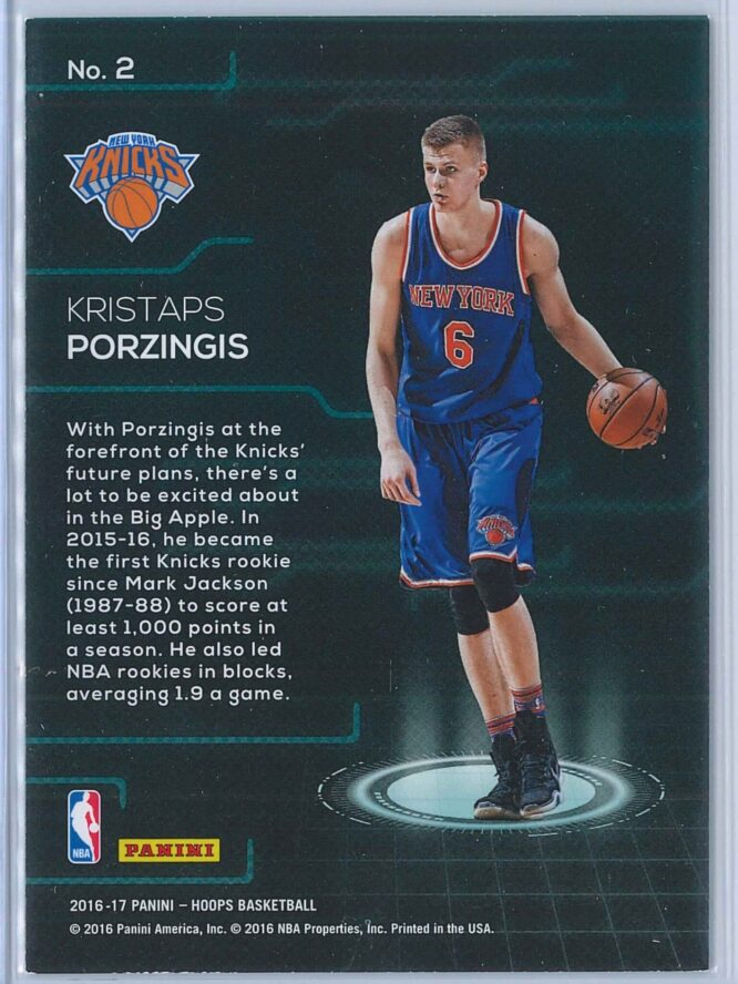 Kristaps Porzingis Panini NBA Hoops Basketball 2016 17 Faces Of The Future 2