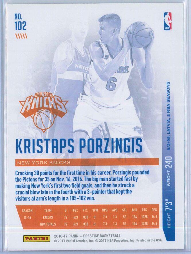 Kristaps Porzingis Panini Prestige Basketball 2016 17 Base Metallized Parallel 2