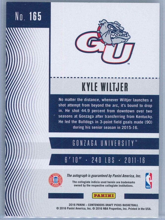 Kyle Witjer Panini Contenders Basketball 2016 College Ticket Auto 2