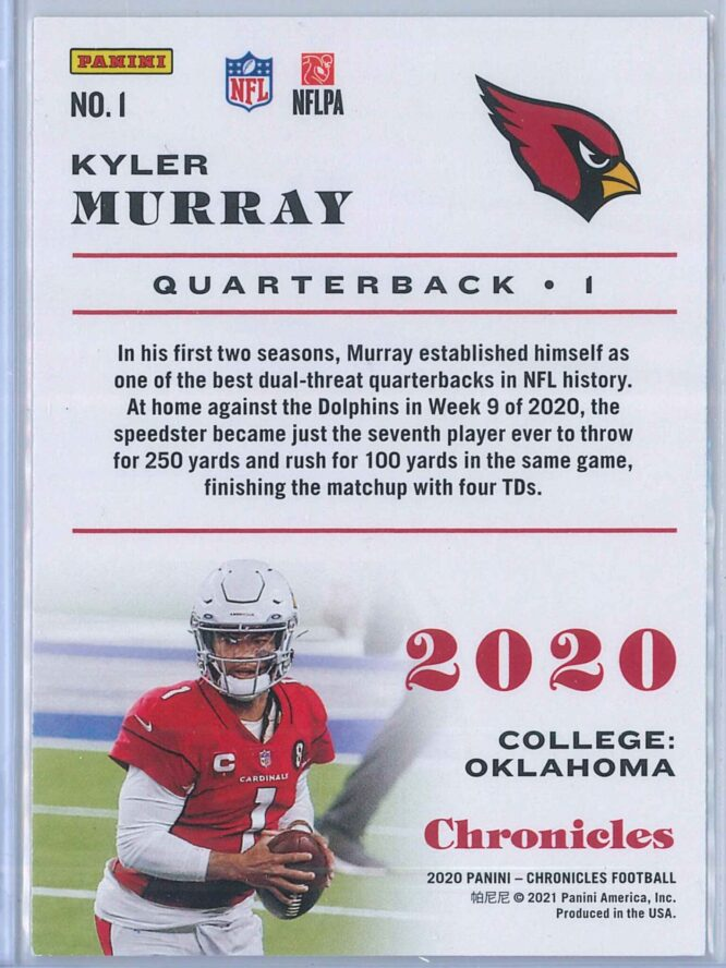 Kyler Murray Panini Chronicles Football 2020 Base 2