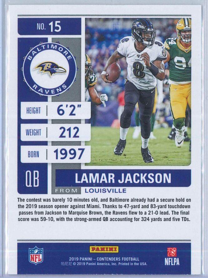 Lamar Jackson Panini Contenders Football 2019 Base 2