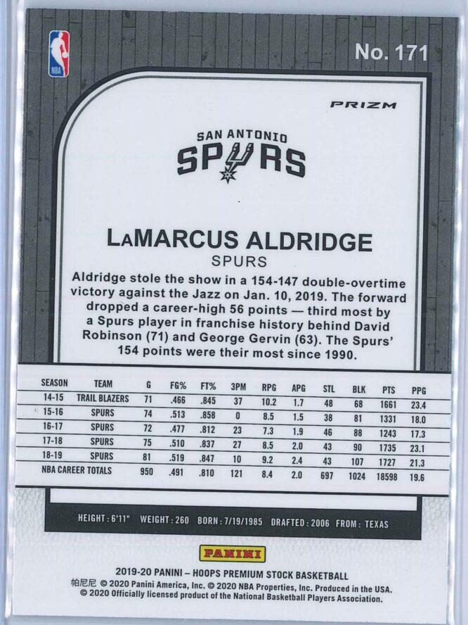Lamarcus Aldridge Panini NBA Hoops Premium Stock 2019 20 Base Blue Prizm 2
