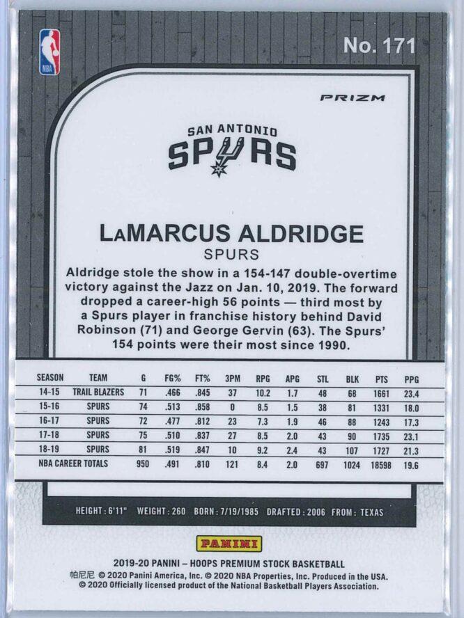 Lamarcus Aldridge Panini NBA Hoops Premium Stock 2019 20 Base Green Prizm 2