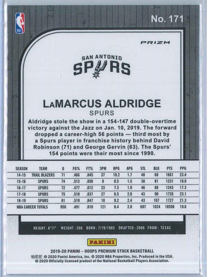 Lamarcus Aldridge Panini NBA Hoops Premium Stock 2019 20 Base Silver Prizm 2