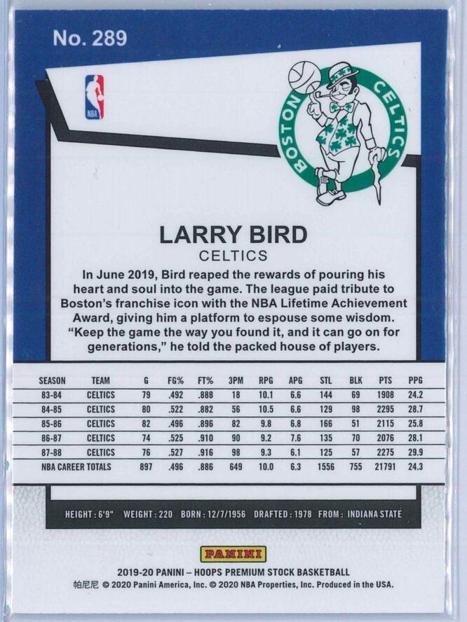 Larry Bird Panini NBA Hoops Premium Stock 2019 20 Tribute 2