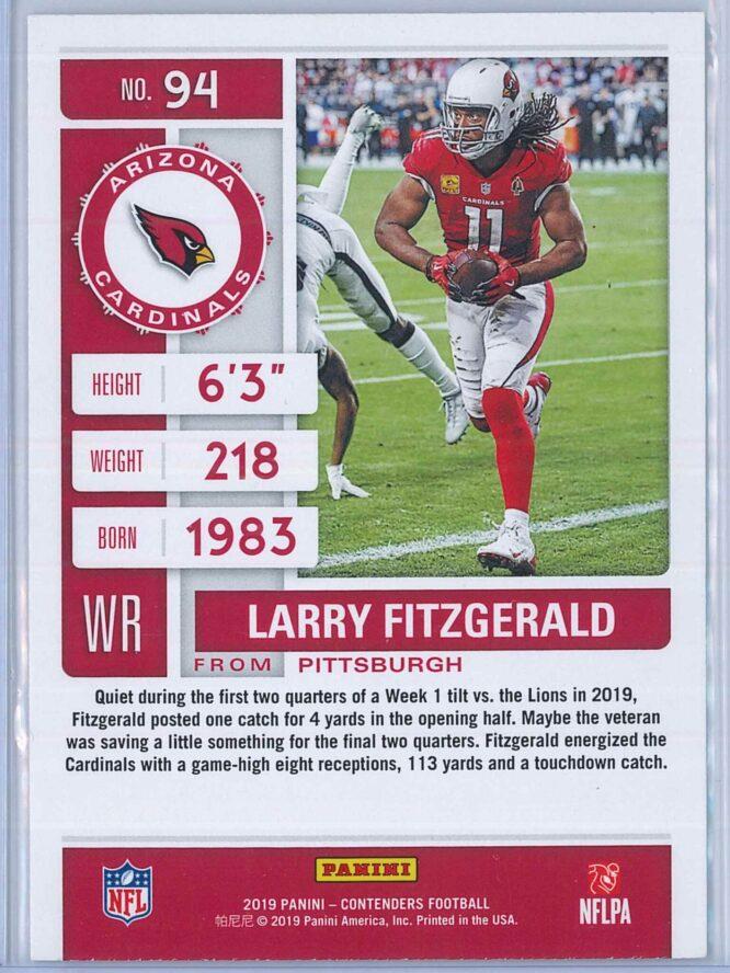Larry Fitzgerald Panini Contenders Football 2019 Base 2